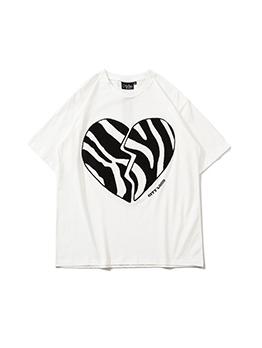Summer Love Pattern Printed Short Sleeve Couple Shirt
