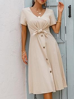 Single-Breasted Solid Short Sleeve Midi Dress
