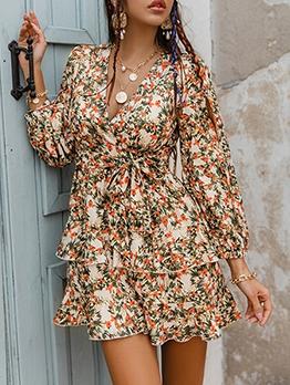 V Neck Printed Long Sleeve Dress