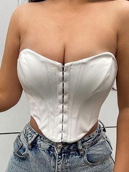 Irregular Solid Sexy Strapless Tank Top