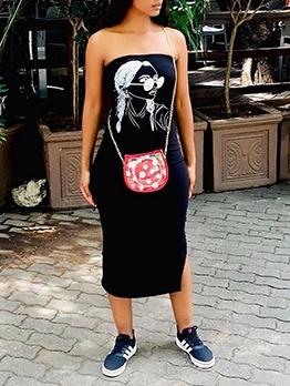 Sexy Funny Pattern Strapless Midi Dress