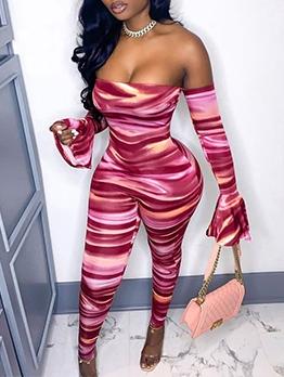 Off Shoulder Long Sleeve Printed Jumpsuits For Women