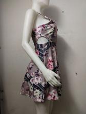 Trendy Flower Printed V Neck Sleeveless Dress