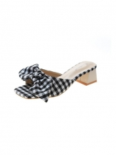 Square Toe Bow Chunky Heel Womens Slippers