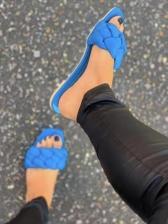 Square Toe Woven Design Slide Slipper