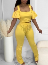 Could Shoulder Solid Ruffled Two Piece Pants Set