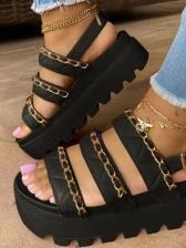 Chain Decor Round Toe Platform Flat Sandals