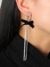 Bowknot Zircon Long Earrings For Women