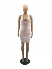 Sexy Nightclub Solid Pleated Halter Dress