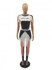 Leisure Sport Contrast Color Two Pieces Pants Sets