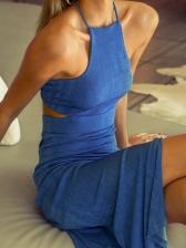 Fashion Sexy Backless Solid Sleeveless Midi Dresses