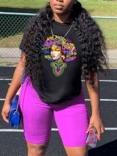 Printed Crew Neck Casual Black Women T-Shirt