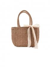 Summer Bow Weaving Beach Handbags