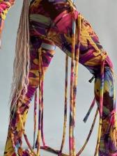 Spring Print Bandage Long Sleeve Pants Set