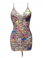 Sexy Butterfly Print Leopard V Neck Sleeveless Dress
