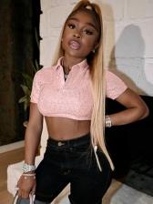 Trendy Turndown Collar Sequined Blouses For Women