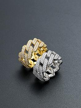 Hip Hop Geometry Zircon Copper Ring