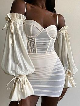 Off Shoulder Solid Perspective Sheath Dress