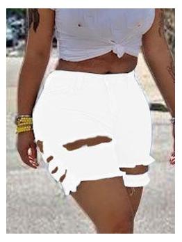 Chic Solid Women Distressed Denim Shorts