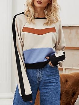 Casual Color Block Long Sleeve Sweatshirt