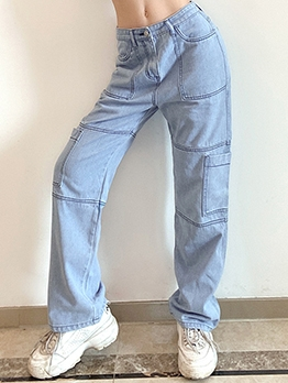 Casual Patchwork Jeans For Women
