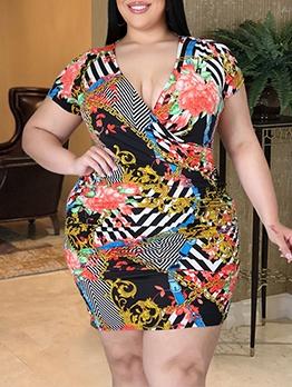 Seductive Print V Neck Short Sleeve Summer Dresses