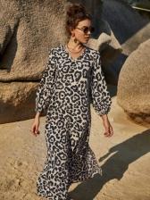 Vintage Leopard Printed Slit Long Sleeve Midi Dress