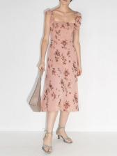 Vintage Ruffled Sleeveless Midi Dress