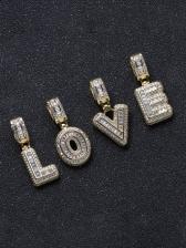 English Letter Zircon Pendant Necklace Unisex