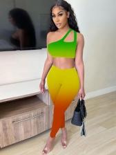 Gradient Color Inclined Shoulder Women Trouser Sets