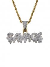 Stylish Zircon Letter Pendant Necklace