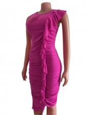 Irregular Ruffle Hollow Out Sexy Maxi Dress