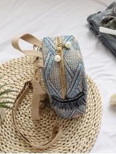 New Straw Weaving RhombusPlaid Backpack