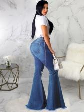 New High Waist Hole Wide Leg Jeans