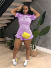 Casual Pleated Agaric Laces 2 Piece Short Set