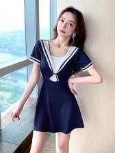 Preppy Style Short Sleeve Contrast Color Dresses