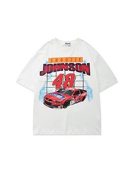 Vintage Race Pattern Loose T Shirts Printing