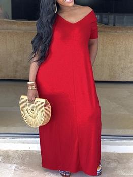 Casual Pure Color Short Sleeve Maxi Dresses Online
