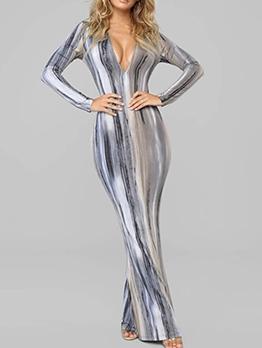 Elegant Printed Long Sleeve Casual Maxi Dresses