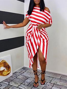 Irregular Striped Inclined Shoulder Midi Dress