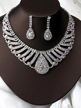 Elegant Full Rhinestone Party Necklace Earrings Set