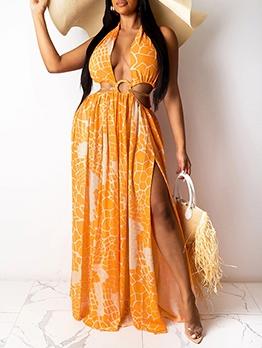 Sexy Patchwork Print Maxi Dress