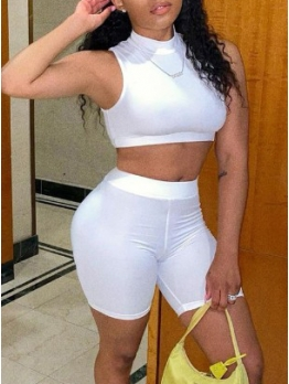 Sporty Solid Cropped Top Two Piece Short Set