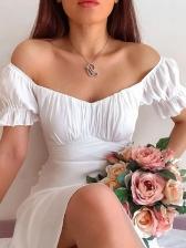 Summer Solid Off Shoulder Dresses For Women