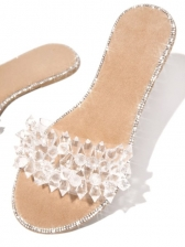 Clear Rhinestone Round Toe Womens Slippers
