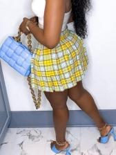 Stylish Plaid Pleated Skirt For Women