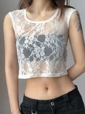 Summer Gauze Perspective Trendy White Tee Shirt