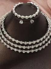 Temperament Rhinestone Earrings Bracelet Necklace Sets