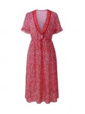 Bohemian V Neck Print Casual Midi Dress