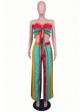 Strapless Contrast Color 2 Piece Flare Pants set